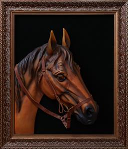 Sale 9103H - Lot 56 - A three dimensional picture of a horse, frame size 75cm x 65cm