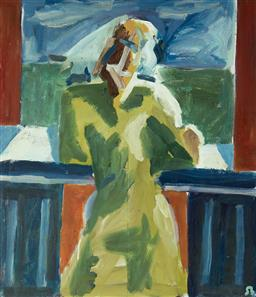 Sale 9133 - Lot 565 - Simon Blau (1952 - ) Balcony Figure, 1987 oil on board 101 x 88 cm (frame: 107 x 94 x 6 cm) initialled lower right, inscribed, dated...