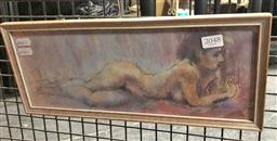 Sale 9176 - Lot 2085 - Paul F Williams  Reclining Nude pastel, frame: 16 x 38 cm, signed -