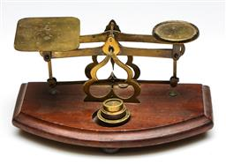 Sale 9255S - Lot 20 - A small set of brass on timber vintage scales inc weights