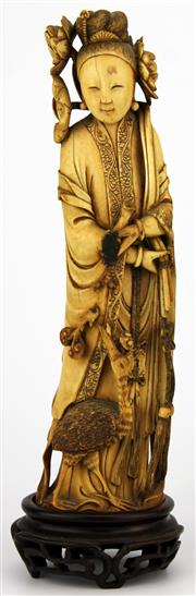 Sale 8088 - Lot 63 - Ivory Carved Early Qing Figure of a Lady