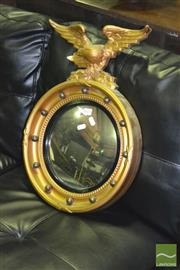 Sale 8227 - Lot 1021 - Porthole Style Mirror with Eagle Sconce