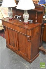 Sale 8255 - Lot 1002 - Early Victorian Mahogany Chiffonier, with tympanum back & shelf, long drawer & two doors