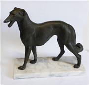 Sale 8272A - Lot 91 - Antique French Art Deco bronzed metal figure of a dog on marble base Size 30 x 28