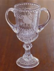 Sale 8346A - Lot 67 - A Victorian double handled celery footed vase, H 26cm