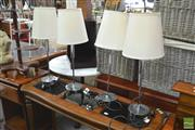 Sale 8406 - Lot 1105 - Set 4 Chrome Lamps With Globes