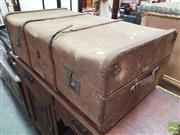 Sale 8424 - Lot 1096 - Vintage Timber Bound Travelling Trunk