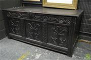 Sale 8500 - Lot 1022 - 17th Century Oak Coffer with Later Carving and Stile Feet