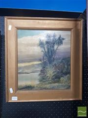 Sale 8544 - Lot 2004 - Artist Unknown (C19th) - Highland Scene and Palm Tree, oil on panel, 29 x 31cm, unsigned