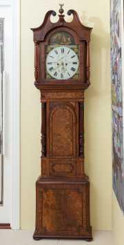 Sale 8677B - Lot 568 - A mahogany longcase clock by J Mallen of Lancaster depicting her majesty returning from the hunt, painted dial in Roman numerals, th...