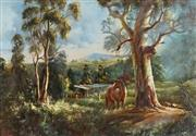 Sale 8821 - Lot 532 - Kevin Best (1932 - 2012) - Country scene with farmworks and horse 41 x 59.5