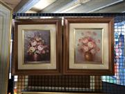 Sale 8853 - Lot 2063 - Pair of Floral Still Life Paintings, signed Robert Cox -