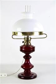 Sale 8926 - Lot 37 - A Red Glass Kerosene Lamp Converted to Electricity