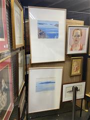 Sale 8924 - Lot 2036 - Christopher Lewis (2 works) The Caldera from Cape Agios & The Night Ferry to Therassa gouache on paper, 88 x 65cm (frames), each s...