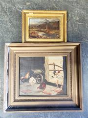 Sale 8961 - Lot 2055 - Pair of C19th oil paintings depicting The Highlands and Chicken Coup (af - losses, frames: 19 x 25cm; 36 x 42cm