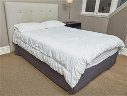Sale 9108H - Lot 54 - A striped navy queen bedhead together with a double bed.