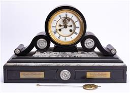 Sale 9185E - Lot 1 - A black slate and marble mantle clock with visible brocot escapement and Roman numerals, and commemorative plaques to front, Height...