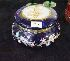 Sale 7346 - Lot 26 - A BLUE GLASS HINGE LIDDED TRINKET BOWL