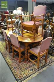 Sale 8227 - Lot 1038 - 9-Piece Oak Dining Suite incl. Extension Table with Barley Twist Supports & 8 Chairs incl. 2 Carvers