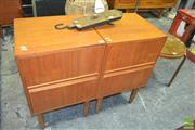 Sale 8275 - Lot 1070 - Pair of Timber Bedsides with Two Drawers