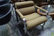 Sale 8550 - Lot 1068 - Pair of Vintage Chrome Based Upholstered Reception Chairs
