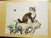 Sale 8636 - Lot 2066A - Framed Painting of a Cat