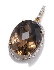 Sale 8937 - Lot 462 - A 14CT GOLD SMOKY QUARTZ AND DIAMOND PEANDANT; featuring on oval chequerboard cut smoky quartz of approx. 11ct to surround and bale...
