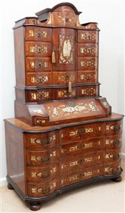 Sale 8976H - Lot 71 - A early German 18th century continental walnut marquetry and engraved bone bureau cabinet on chest of serpentine form, with renaissa...