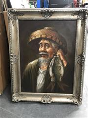 Sale 9033 - Lot 2077 - Chinese School The Merry Fisherman oil on canvas 76 x 61cm (frame) signed lower left
