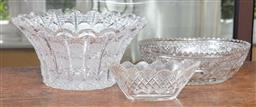 Sale 9120H - Lot 99 - A group of three cut glass bowls including Bohemian, largest Diameter 29cm