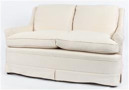 Sale 9099 - Lot 109 - A two seater sofa upholstered in cream brocade and with feather down scatter cushions, Height of back 86cm x Length 177cm x Depth 80cm