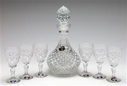 Sale 9253 - Lot 34 - A Bohemia lead crystal decanter (H: 30cm), together with six glasses