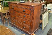 Sale 8093 - Lot 1729 - Late Georgian Mahogany Secretaire Chest, with fitted interior above three drawers w ebony handles