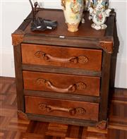 Sale 8098A - Lot 71 - Suitcase Style Leather Campaign Chest Of Three Drawers