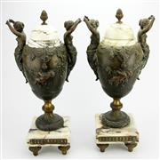 Sale 8356A - Lot 15 - Marble & Spelter Pair of Figural Urns