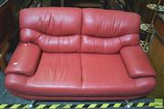 Sale 8312 - Lot 1035 - Red Leather Two Seater & Two Half Seater Lounges