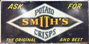 Sale 8445A - Lot 64 - Smiths Potato Chips Vintage Metal Advertising Sign - dimensions - 61cm x 121cm