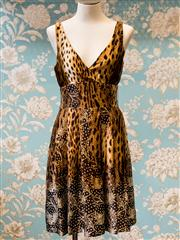 Sale 8474A - Lot 79 - A fun Monica A Black Label 100% Silk cheetah print dress , condition: very good, size: 10