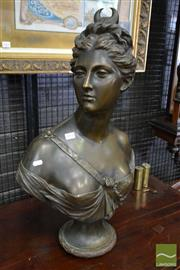 Sale 8500 - Lot 1060 - Large Bronze Bust of Diana the Huntress after Houdon (height - 71cm)