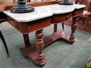 Sale 8598 - Lot 1044 - Victorian Walnut Washstand, with shaped white marble top, frieze drawer, turned legs & lower tier (H: 80 W: 122 D: 56cm)