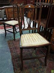 Sale 8634 - Lot 1061 - Pair of Edwardian Marquetry Side Chairs, with gold fabric seats & stretcher base