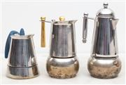 Sale 8644A - Lot 34 - Three stove top coffee pots, including Bialetti, tallest height 21cm.