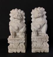Sale 8706A - Lot 35 - A pair of carved marble foo dogs, H 29 x W 15cm