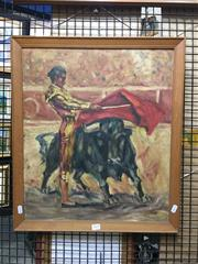 Sale 8754 - Lot 2029 - Artist Unknown - Spanish Bull Fight oil on board, 58.5 x 51cm, unsigned -