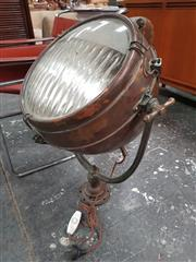 Sale 8872 - Lot 1080 - Vintage Copper Cased Search Light with Fluted Glass