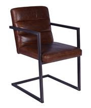 Sale 8957T - Lot 7 - An aged leather upholstered seat, back with cantilevered Gun metal steel frame W54 x D62 x H80