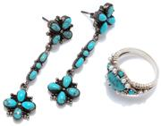 Sale 9046 - Lot 572 - A SILVER TURQUOISE RING AND DROP EARRINGS; ring set with an oval and round cabochon turquoise and seed pearls, size P, drop earrings...