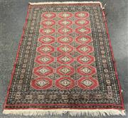 Sale 9043 - Lot 1029 - Red, Black and Cream Tone Carpet with Central Arabesques (L184 x W124cm) (AF - minor fraying)
