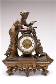 Sale 9064 - Lot 79 - A French Gilded Spelter 19th Century Figural Mantle Clock H:45cm