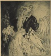 Sale 9078A - Lot 5027 - Norman Lindsay (1879 - 1969) - Untitled (Young Lovers & Bull) 27 x 24.5 cm (sheet: 35 x 31 cm)